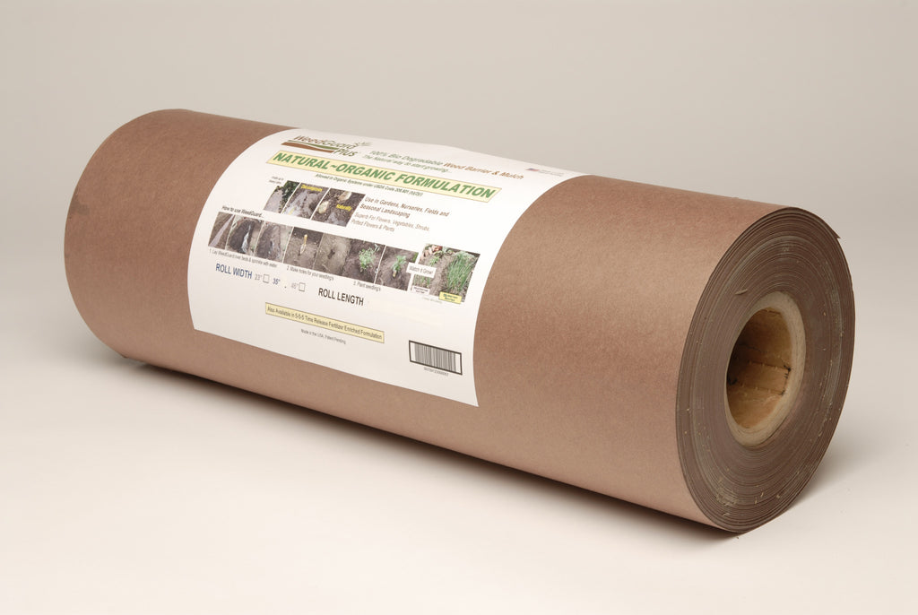 A roll of brown paper mulch that is natural, biodegradable and enriched with 2% humic acid