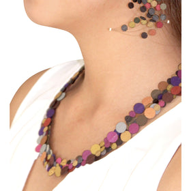 Dos Riberas: Four Loops Fabric Necklace - Warm