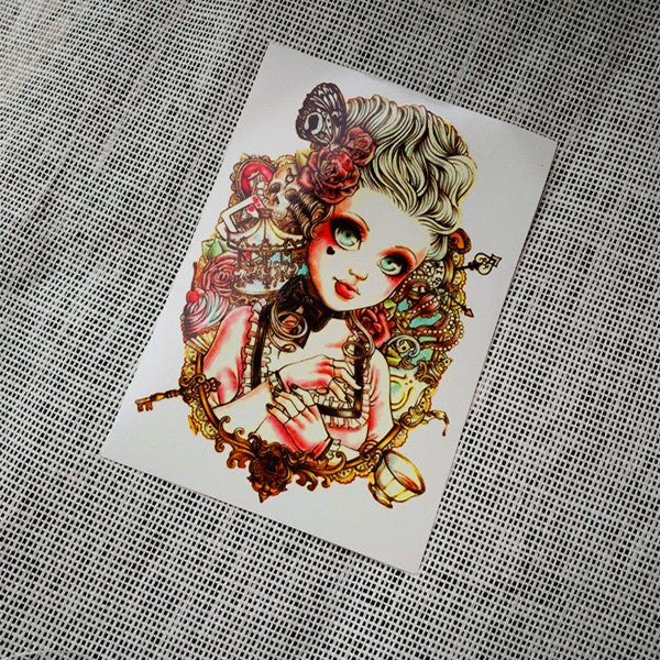 Vintage Large Temporary Tattoo Pinup [Color]