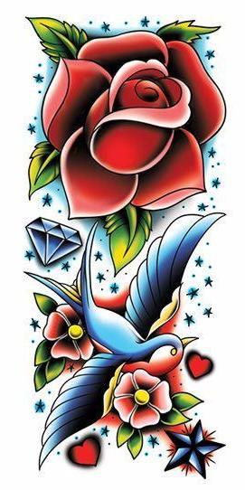 Rose and Sparrow Temporary Tattoo