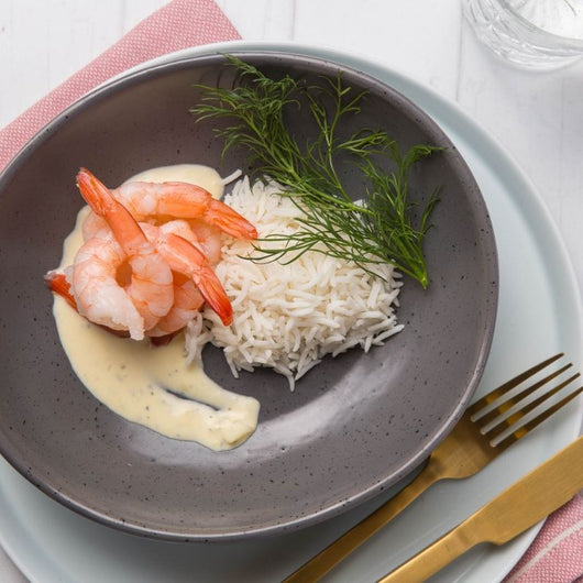 King Prawns With Garlic Cream Sauce & Steamed Rice