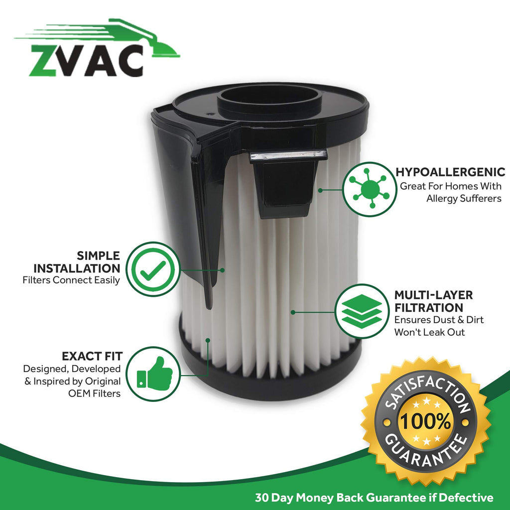 ZVac 4Pk Compatible Filter Replacement for Eureka DCF-10,Amp & DCF-14 HEPA Filters. Replaces Parts# DCF14, DCF10, 62731A, 62731b