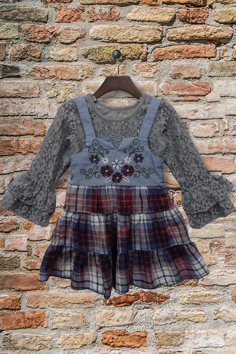 Althea Dress Set in Washed Plaid