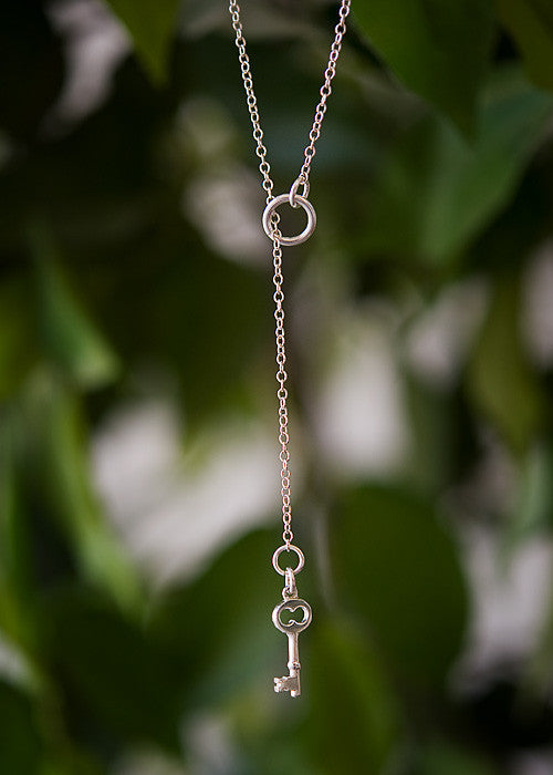 "Cure Collection ""Unlock The Cure"" Sterling Silver Key Necklace"
