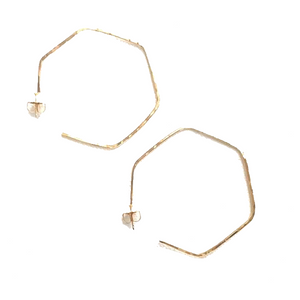 Edina Kiss 20K Gold Hexagon Hoop Earrings