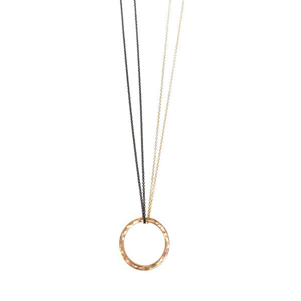 Hammered LA 20K Gold Circle Necklace