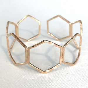 Hexagon Gold Cuff