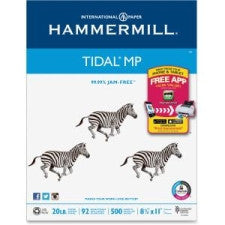 "Hammermill Tidal MP Paper - Letter - 8.5"" (215.9 mm) x 11"" (279.4 mm) - 20 lb Basis Weight - Recycled - 10% Recycled Content - 92 Brightness - 5000 / Carton - White"