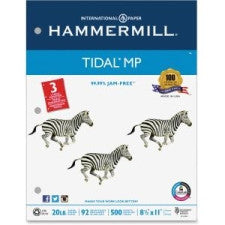 "Hammermill Punched Tidal Multipurpose Paper - Letter - 8.5"" (215.9 mm) x 11"" (279.4 mm) - 20 lb Basis Weight - Recycled - 10% Recycled Content - 3 x Hole Punched - 92 Brightness - 5000 / Carton - White"