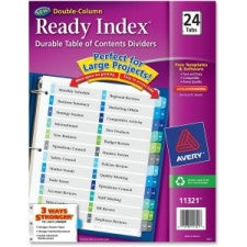 "Avery Double Column Index Divider - 24 - Printed 1 to 24 - 24 Tab(s)/Set - 8.50"" Divider Width x 11"" Divider Length - Letter - 3 Hole Punched - Multicolor - 24 / Set - Office Buggy"