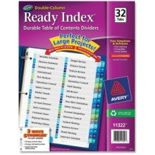 "Avery Double Column Index Divider - 32 - Printed 1 to 32 - 32 Tab(s)/Set - 8.50"" Divider Width x 11"" Divider Length - Letter - 3 Hole Punched - Multicolor - 32 / Set - Office Buggy"