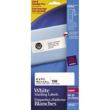 "Avery Address Label - 1 1/3"" Width x 4"" Length - Laser, Inkjet - White - 150 / Pack - Office Buggy"