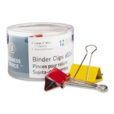 "Business Source Binder Clip - Large - 2"" (50.8 mm) Width - 1"" - 12 / Pack - Assorted Color - Steel Material"