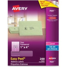 "Avery 1""x4"" Easy Peel Address Labels - 4"" Width x 1"" Length - 20 / Sheet - Rectangle - Laser, Inkjet - White - 200 / Pack - Office Buggy"