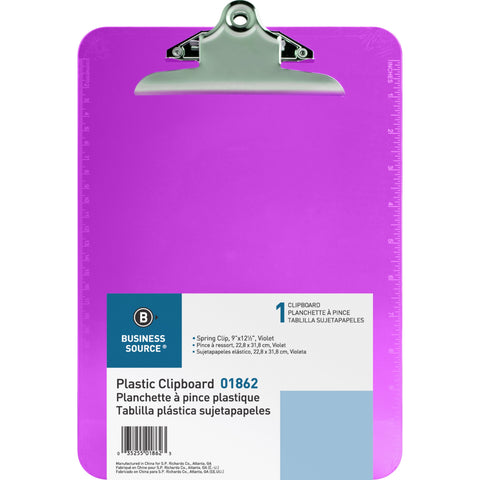 "Business Source 9"" x 12.5"" Purple/Violet Plastic Clipboard - Each"