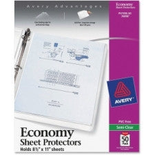 "Avery Economy Weight Sheet Protector - For Letter 8.5"" x 11"" Sheet - Rectangular - Clear - Polypropylene - 50 / Box - Office Buggy"