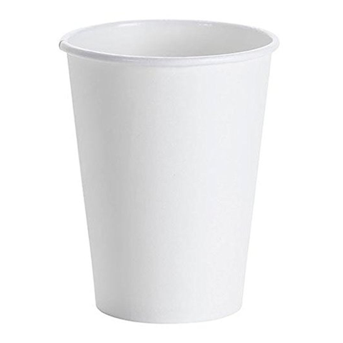 Hot Beverage White Single Wall Paper Cups - 12 ounces - 50 Cups