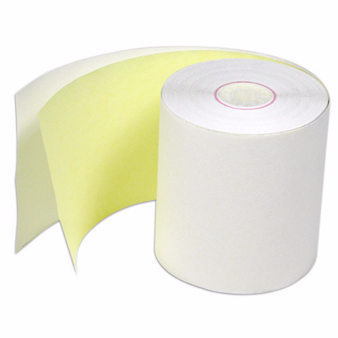 "2 Ply CORED -  3"" x 100 Ft Bright Bond Paper, 1 box of 50 rolls"