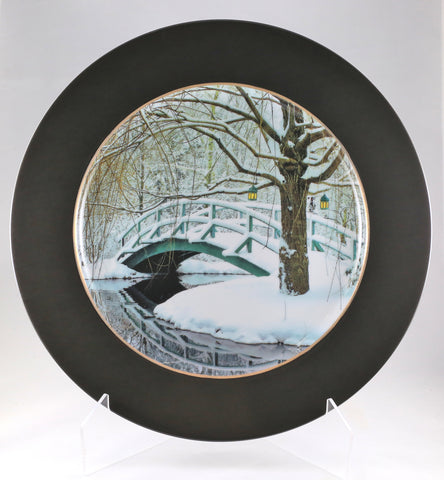 "Charger Plate - ""Giverny Bridge"" - Winter"