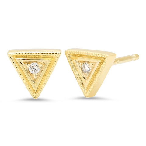 14K Gold Diamond Birthstone Trinity Stud Earrings, Heaven Culture Earrings, Eversmart Beauty