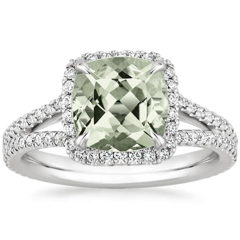 2.30 Total Carat Cushion Halo Prasiolite and Diamond Heaven Culture Ring, Halo Engagement Ring, Eversmart Beauty
