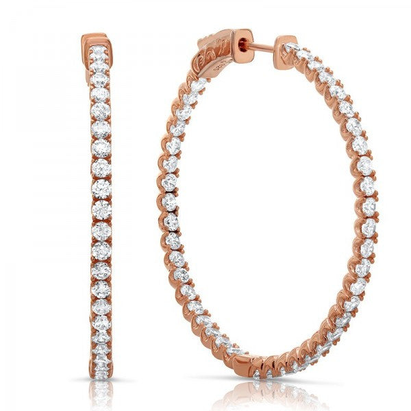 Rose Gold Swarovski® Diamond Hoop Earrings, Swarovski Earrings, Eversmart Beauty