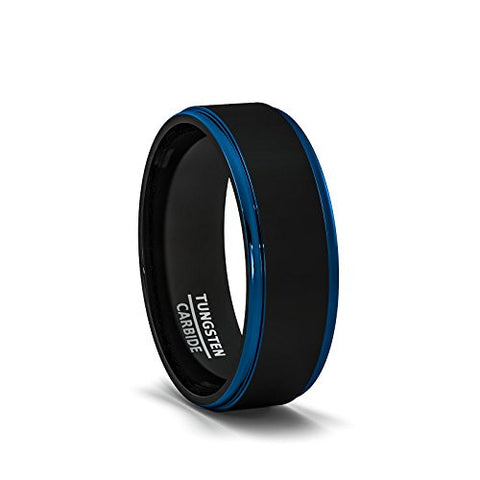 Mens Wedding Band Two Tone Black Tungsten Ring 8mm Blue Sides Step Edge Comfort Fit, Tungsten Ring, Eversmart Beauty