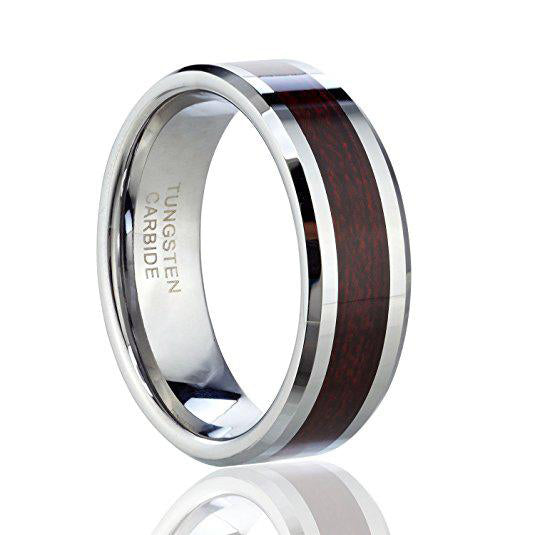 Men's wedding band Tungsten Carbide Ring with Wood Inlay, Tungsten Ring, Eversmart Beauty