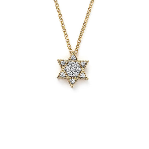14K Yellow Gold Diamond Star of David Necklace, Heaven Culture Trinity Necklace, Eversmart Beauty