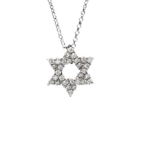 14K White Gold + Diamond Star of David Necklace, Heaven Culture Trinity Necklace, Eversmart Beauty