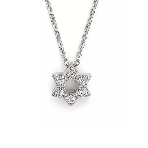 14K White Gold + Diamonds Star of David Necklace, Heaven Culture Trinity Necklace, Eversmart Beauty