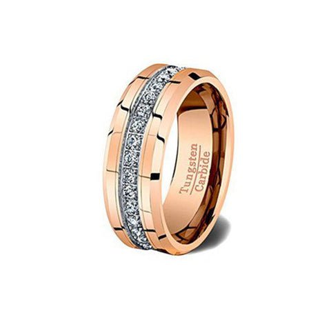 Rose Gold and Cubic Zircon Tungsten Ring, Tungsten Ring, Eversmart Beauty
