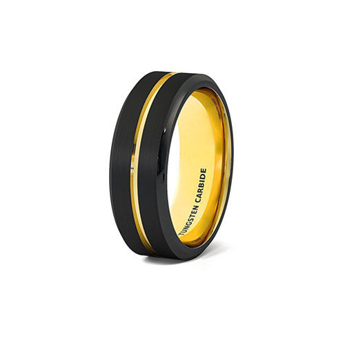 Mens Wedding Band Black 8mm Gold Tungsten Ring Groove Beveled Edge Comfort Fit, Tungsten Ring, Eversmart Beauty