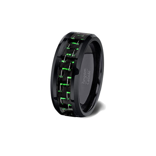 Mens Green and Black Tungsten Wedding Anniversary Ring 6mm Comfort Fit, Green Tungsten Ring, Eversmart Beauty