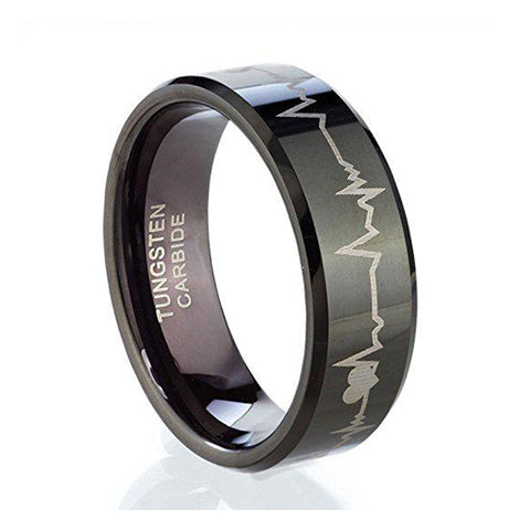 8mm Heart for God Tungsten Ring, Tungsten Ring, Eversmart Beauty
