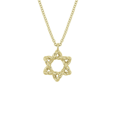 14K Yellow Gold Star of David Pendant Necklace, Star of David Gold Necklace, Eversmart Beauty