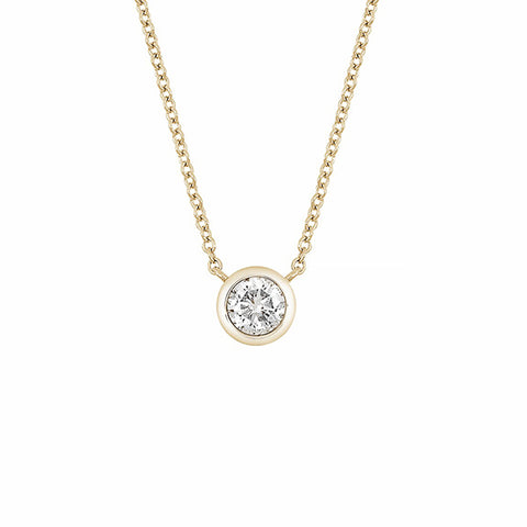 14K Yellow Gold Bezel Set Diamond Moissanite Pendant Necklace - 0.50 ctw, Forever One Moissanite Heaven Culture Necklace, Eversmart Beauty
