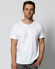 White | Short Sleeve Feather Henley