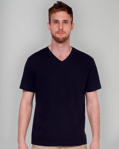 Black | Slub V Neck Tee