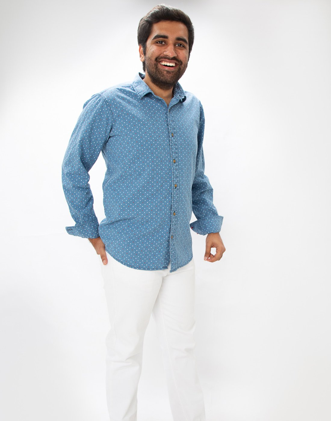 Indigo Denim Dotted Shirt