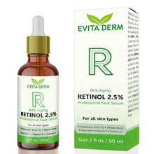 Load image into Gallery viewer, 2.5% Retinol Serum by Evita Derm 2 oz - With Hyaluronic Acid, Vitamin C & E, Peptide and Aloe Vera - Always White