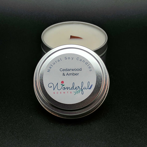 6 oz Soy Wax Travel Tin Candles With Wood Wick