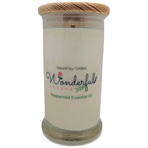 Wonderful Scents 21oz  Peppermint Essential Oil Candle with Cotton Wick