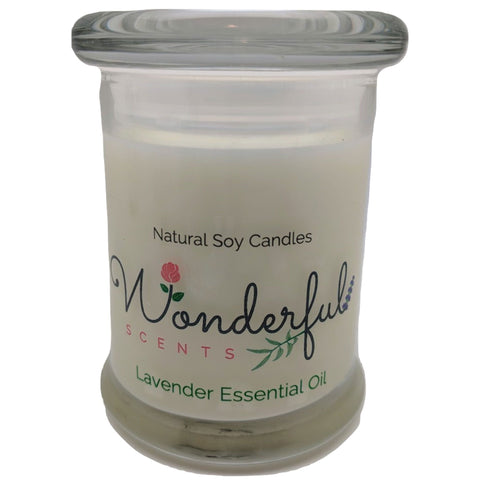 Wonderful Scents 8oz Lavender Status Jar Candle Cotton Wick Glass Lid