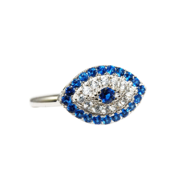Evil Eye Ring in Rhodium with Sapphire and Clear CZ Stones