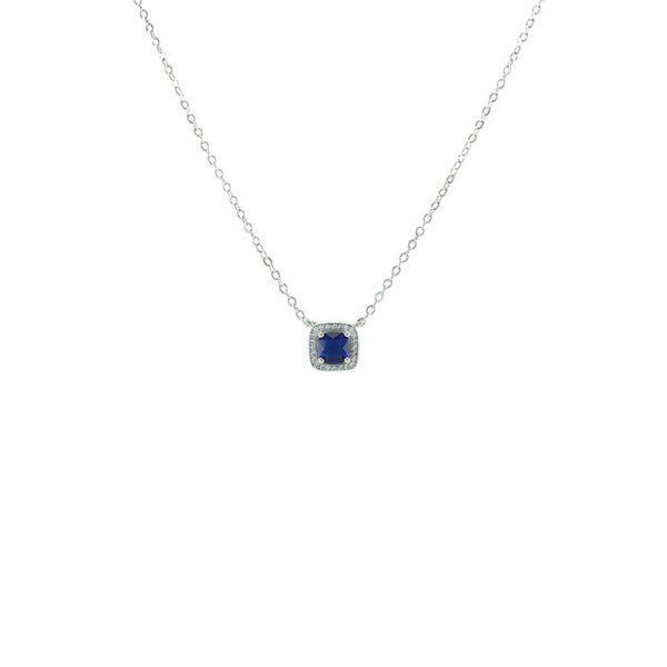 Square Cut Pendant Necklace With Sapphire CZ Stones