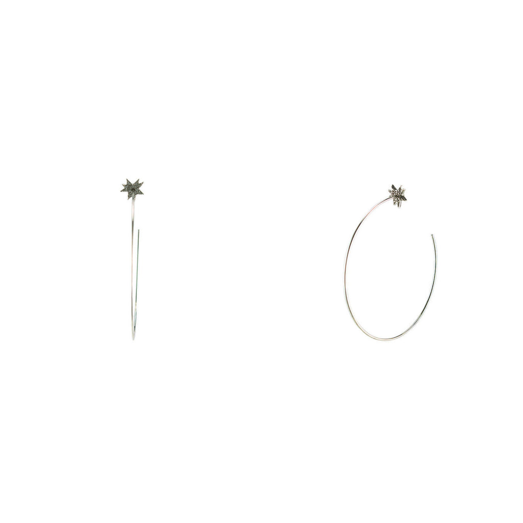 Pave Star Wire Hoop Earrings