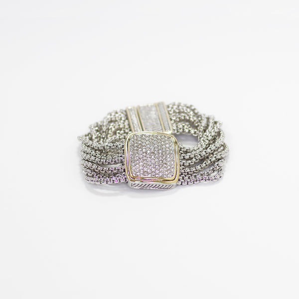 Designer Inspired Bracelet in Pave with Magnetic Closure