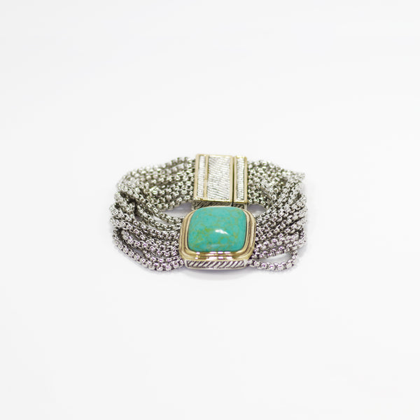 Designer Inspired Bracelet in Natural Turquoise Stone with Magnetic Closure