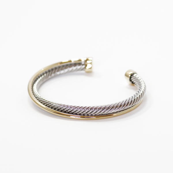 Designer Inspired Two-Tone Crossover Cuff Bangle